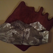Mountains -polished steel on oak