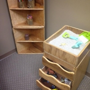 Art Therapy Sand Tray with Drawers and Corner Shelves